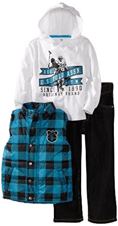 U.S. POLO ASSN. Boys 2-7 Vest with Tee and Pant, Teal, 2T