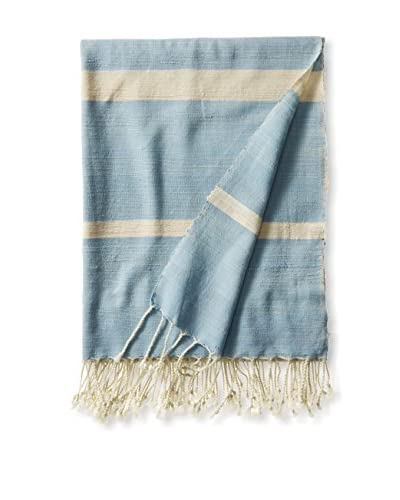 a & R Cashmere Wool & Cotton Blend Handmade Throw, Sky/Ivory