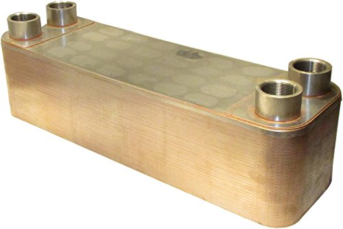 """B3-95A 60 Plate Stainless Steel Heat Exchanger With 2"""" Female Npt Ports Copper Brazed"""