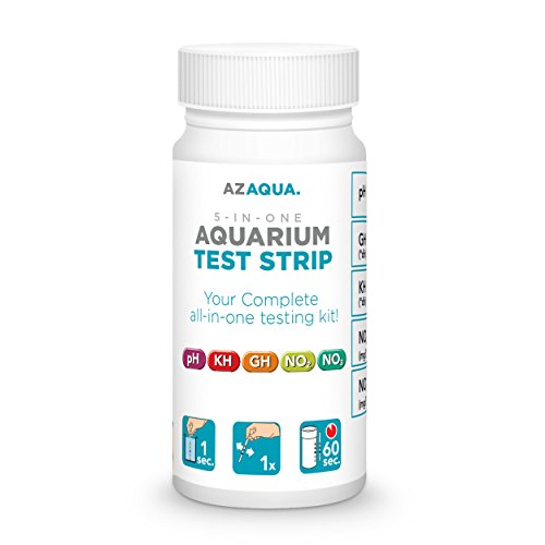 AZAQUA Accurate 5-in-1 Aquarium Test Strip, Supports Freshwater and Saltwater Fish Tank, 25 count (Fish Tank Test compare prices)