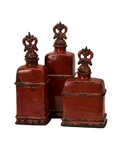 Set Of 3 Decorative Bottles W/ Finials, Garnet