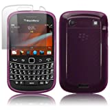BLACKBERRY BOLD 9900 PURPLE GEL SKIN CASE / COVER + SCREEN PROTECTOR PART OF THE QUBITS ACCESSORIES RANGE