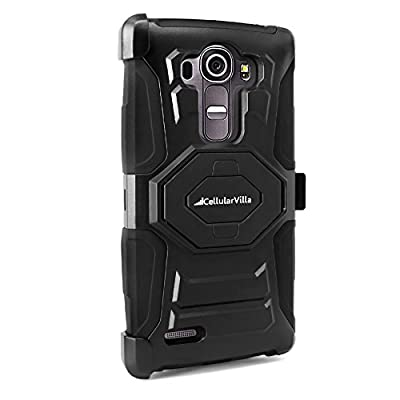 LG G4 Case, Cellularvilla G4 Case [Heavy Duty] [Hard Soft] Hybrid Armor Rugged Case with Holster Shell [Belt Clip] Swivel Kickstand Cover For LG G4 from Cellularvilla
