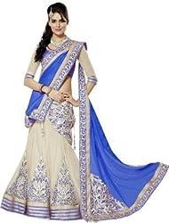 Krishna ECommerce Blue Color Embroidered Net::Georgett Lehenga Choli