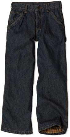 Carhartt Big Boys' Washed Flannel Lined Dungaree Jean, Dark Wash, 16