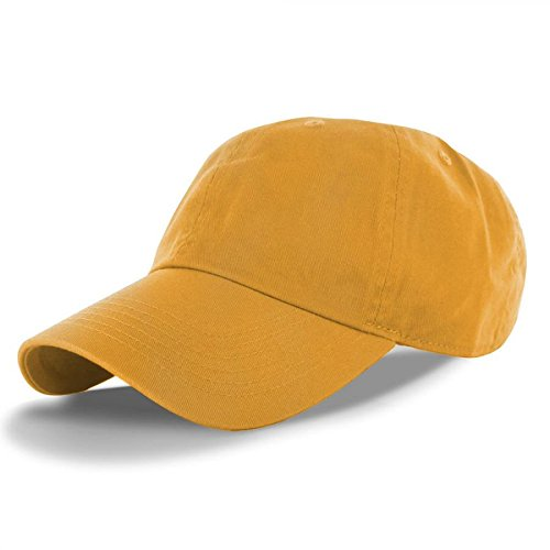 Gold-100% Cotton Adjustable Baseball Cap Hat Polo Style Washed Plain Solid Visor (US Seller) (Mustard Pie 12 Months compare prices)
