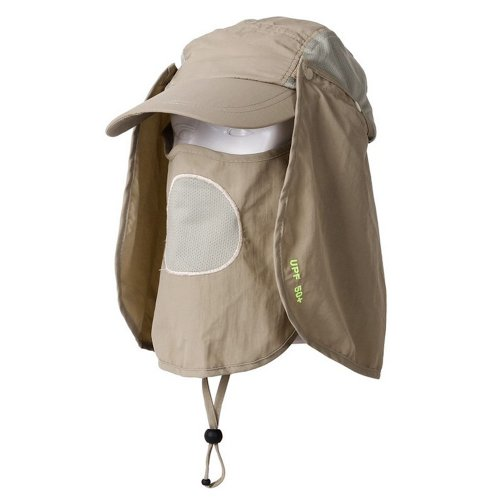 Bluecell UV 50+Protection Outdoor Multifunctional Flap Cap with Removable Sun Shield and Mask Perfect for Fishing Hiking Garden Work Outdoor Activities (khaki)