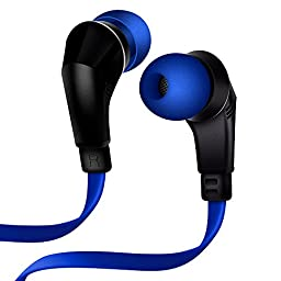 NoiseHush NX80 Earphones Premium Bass Stereo Headphones In-Ear with Tangle Free Cable Inline Microphone Earbuds - Blue/Black