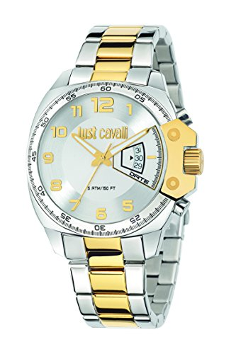 Just Cavalli Just Escape Men's Quartz Watch with White Dial Analogue Display and Silver Stainless Steel Strap R7253213002