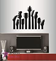 Wall Vinyl Decal Home Decor Art Sticker Guitar Necks Music Rock Musician Bedroom Living Room Removable Stylish Mural Unique Design For Any Room Creative Design Logo House
