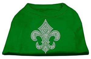 Mirage Pet Products Silver Fleur de Lis Rhinestone Pet Shirts, Small, Emerald Green