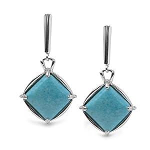 Sterling Silver Kingman Blue Turquoise Diamond-Shaped Earrings