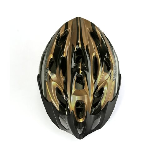 Gold Black Mountain Road Race Bicycle Bike Cycling Safety Unisex Helmet +Visor L