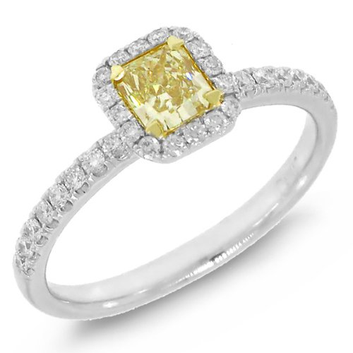 0.71ct 14k Two-tone Gold Radiant Cut Natural Fancy Yellow Diamond Ring image