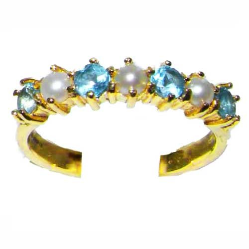 14K Yellow Gold Ladies Pearl & Blue Topaz Anniversary Eternity Ring - Size L - Finger Sizes L to Z Available - Suitable as an Anniversary, Engagement or Eternity ring
