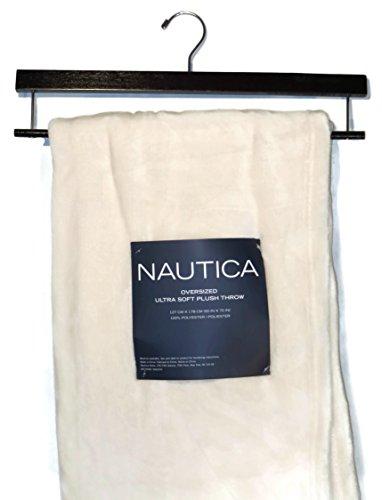 "Plush Throw Blanket Designer Nautica Cream 50"" X 70"" With Storage Hanger front-1021235"
