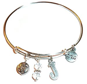 Initial Expandable Wire Bangle Bracelet, in the Alex and Ani Style (J)