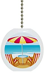 Carolina Hardware and Decor 1892F Beach Chairs Umbrella Tropical Ocean Solid Ceramic Fan Pull