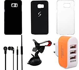 NIROSHA Cover Case Headphone Mobile Holder Charger for Samsung Galaxy Note 5 - Combo