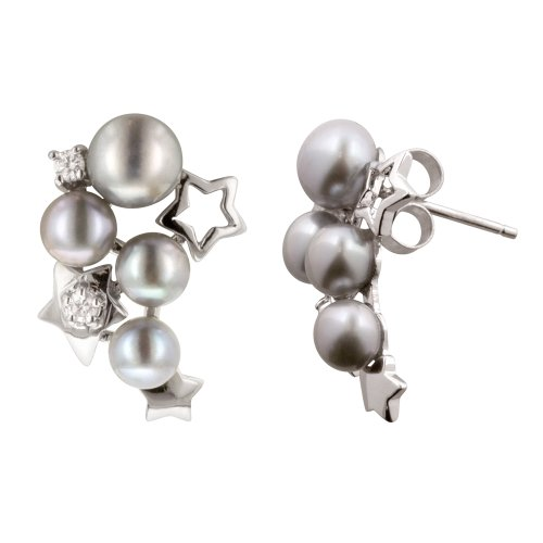 Sterling Silver Cluster Grey Freshwater Cultured Pearl and Cubic Zirconia Star Earrings