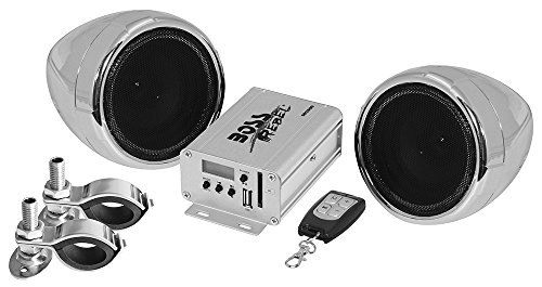 BOSS AUDIO MC500 Chrome 600 watt Motorcycle/ATV Sound System with Built-in FM Tuner with One Pair of 3 Inch Weather Proof Speakers, Aux Input and Volume Control (2011 Silverado Chrome Accessories compare prices)