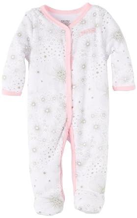 Calvin Klein Baby-girls Newborn Stretchie Coverall, Gray, 0-3 Months