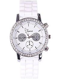 Dress Top Brand Luxury Watches Men Women Geneva Fashion White Silicone Rhinestone Quartz Watch Sports