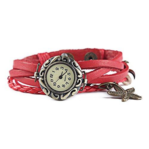 Dayan Starfish Charm Women Ladies Weave Wrap Around Leather Belt Bracelet Watch Red