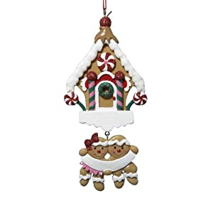 Kurt Adler Gingerbread With House Family of 2 Christmas Ornament