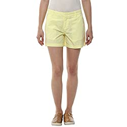 Honey by Pantaloons Women's Basic Shorts (205000005553573_Lemon Yellow_32)