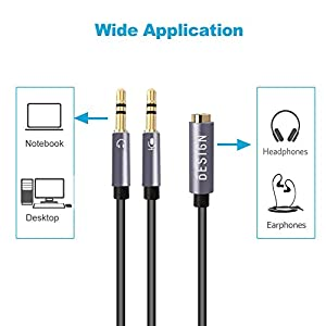 Besign Auxiliary Audio Cable Pack - 3.5mm Stereo Aux Cable, Male to Female Extension Audio Cable, Female to 2 Male Headphone Mic Audio Y Splitter Cable, 3.5mm Male to 2 Port 3.5mm Female Audio Cable