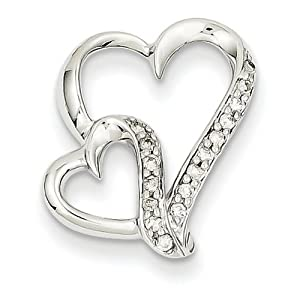 Genuine IceCarats Designer Jewelry Gift 14K Wg Heart Pendant In 14K White Gold