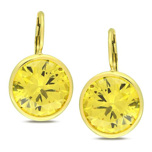 Sterling Silver 28 7/8 CT TGW Yellow Cubic Zirconia Stud Earrings