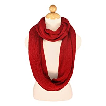 Premium Solid Color Knit Infinity Circle Scarf - Different Colors Available (Burgundy)