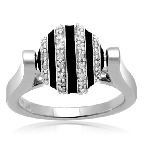 Sterling Silver Enamel Ball Diamond Ring (1/5 cttw, I-J Color, I2-I3 Clarity), Size 6