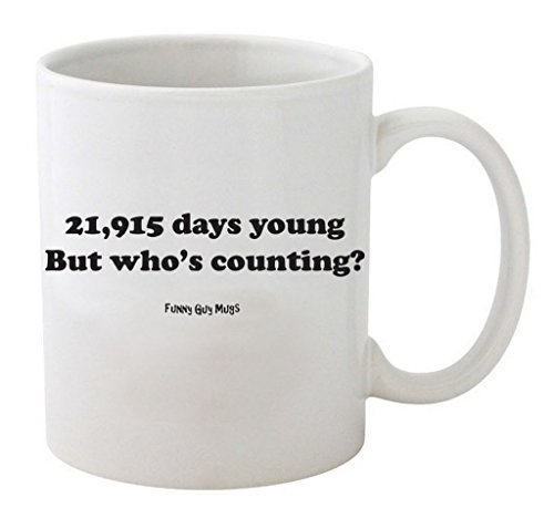 Funny Guy Mugs 60th Birthday - 21,915 Days Young Ceramic Coffee Mug, White, 11-Ounce