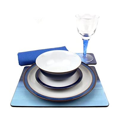 Denby Imperial Blue 28 Piece Ceramic, Glass and Accessories Tableware Set for 4 Placesettings