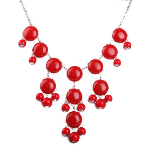 Red Necklace, Bubble Bib Necklace, Bubble Necklace, Bubble Jewelry, Silver Tone Necklace (Fn0508-S-M) (A)