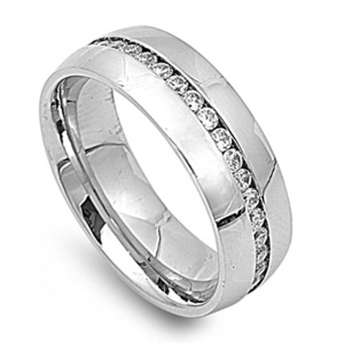 Size 9, 8Mm Stainless Steel Cz Channel Set Eternity Wedding Band (Size 9 To 13)