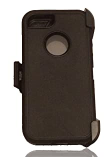 buy Iphone 5S Defender Shockproof Heavy Duty Hybird Cover Case W/ Belt Clip Holster (Black)