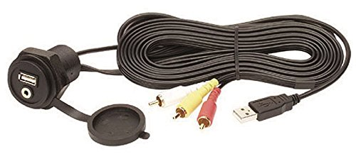 Clarion Corporation of America  CCAUSBAV USB 2.0 Port and 3.5mm Audio/Video Mini-Jack with USB Extension Cable, Composite Audio/Video RCA Connectors and Integrated Cover