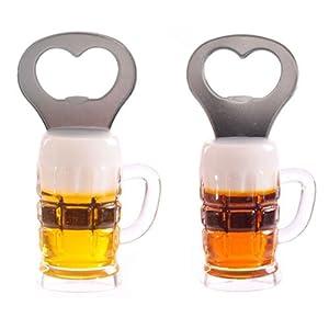 Beer glass fridge magnet bottle opener rounded design kitchen dining - Beer bottle opener fridge magnet ...
