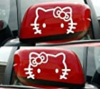 Hello Kitty Reflective Motorcycle Car Side Mirror Cellphone Laptop Logo Emblem Badge Decal Sticker White