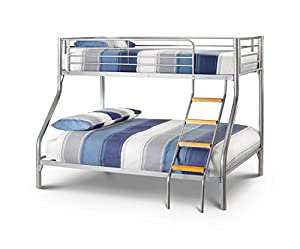 Happy Beds Bunk Bed Atlas Triple Sleeper Solid Metal With 2x Orthopaedic Matresses 3' Single 90 x 190 cm 4'6'' Double 135 x 190 cm