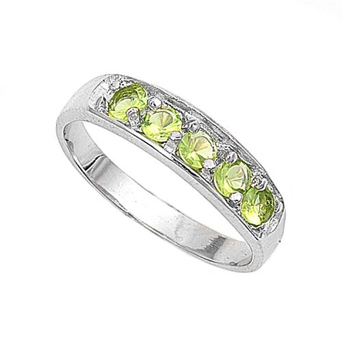 Sterling Silver Baby Ring with Peridot CZ - 4mm Band Width - 4mm Face Height - Sizes: 1-4, 1