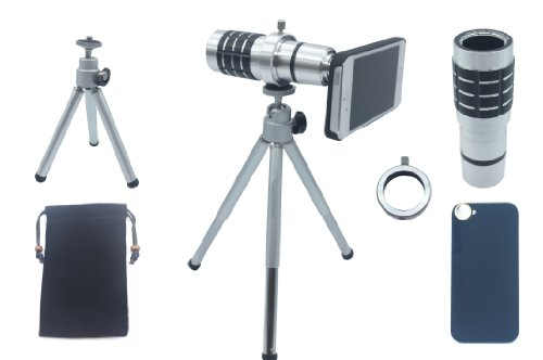 Lesung®12X Magnifier Zoom Aluminum Manual Focus Telephoto Telesocpe Phone Camera Lens Kit With Tripod For Iphone4/4S(B)