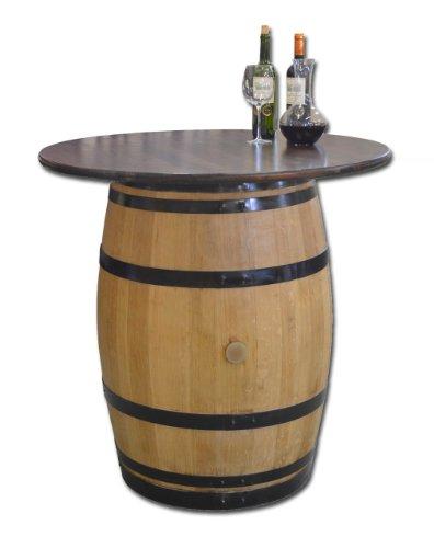 Dekofass-Stehtisch-aus-echtem-Weinfass-Gartentisch-mit-Tischplatte-Nussbaum-D100-cm-Fass-geschliffen-und-lackiert