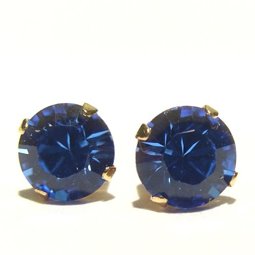 18 carat Gold plated 925 Sterling Silver Stud Earrings set with Sapphire Blue Swarovski Crystal Stones. Gift Box. Beautiful jewellery for very special people.