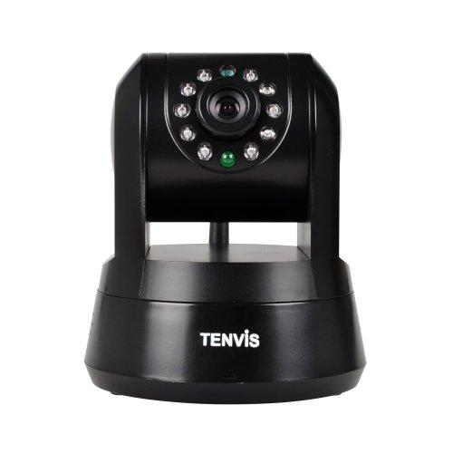 TENVIS Iprobot3 PTZ-Netzwerkkamera/IP-Überwachungskamera, H.264, 1/4 CMOS, drahtlos, für Innenbereich, mit 32°GB SD-Karte, unterstützt Mobilfunk-Ansicht - schwarz