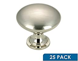 Skyline Cabinet Hardware Contemporary Metal Knob, Brushed Nickel, 1-3/16\